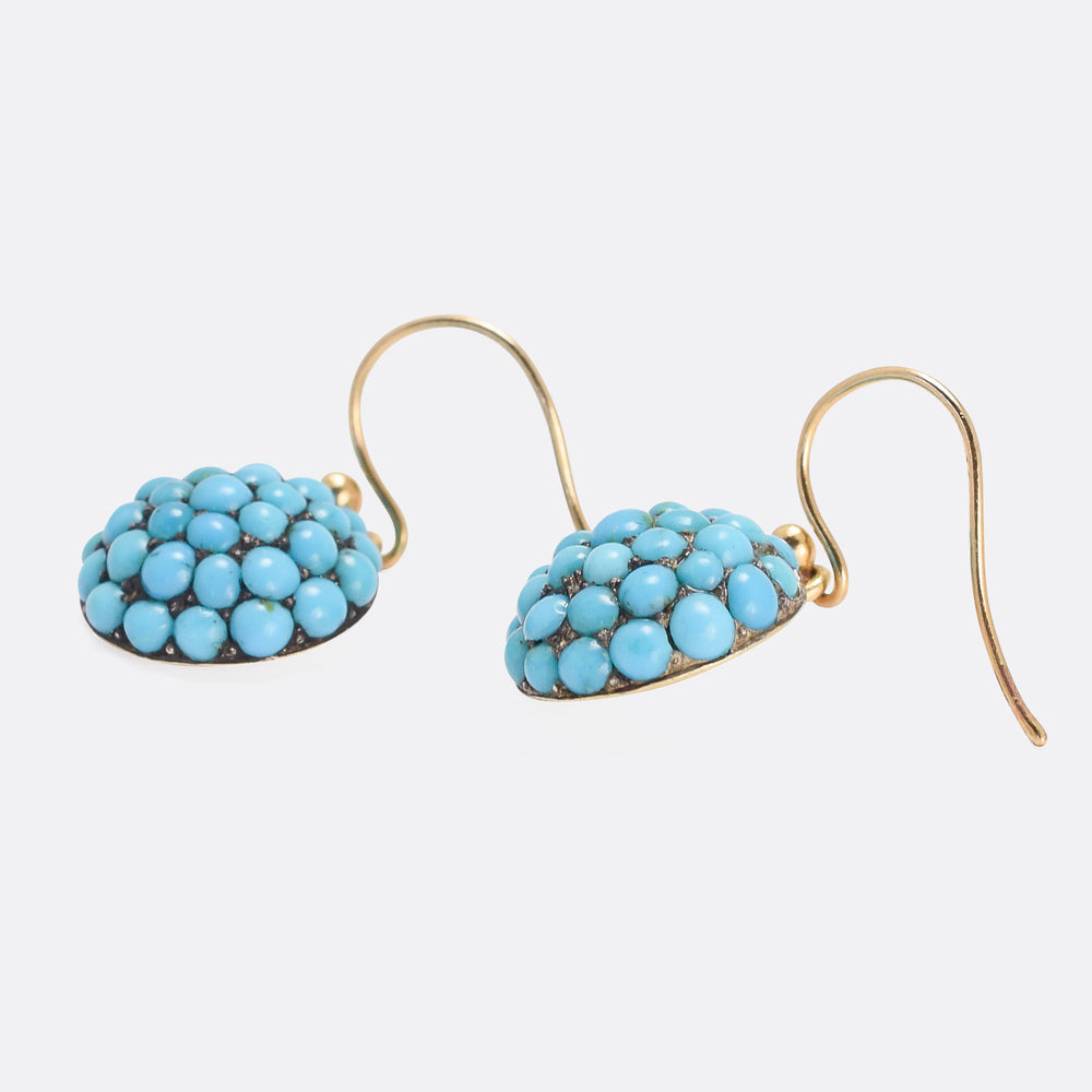 Victorian Pavé Turquoise Dome Earrings