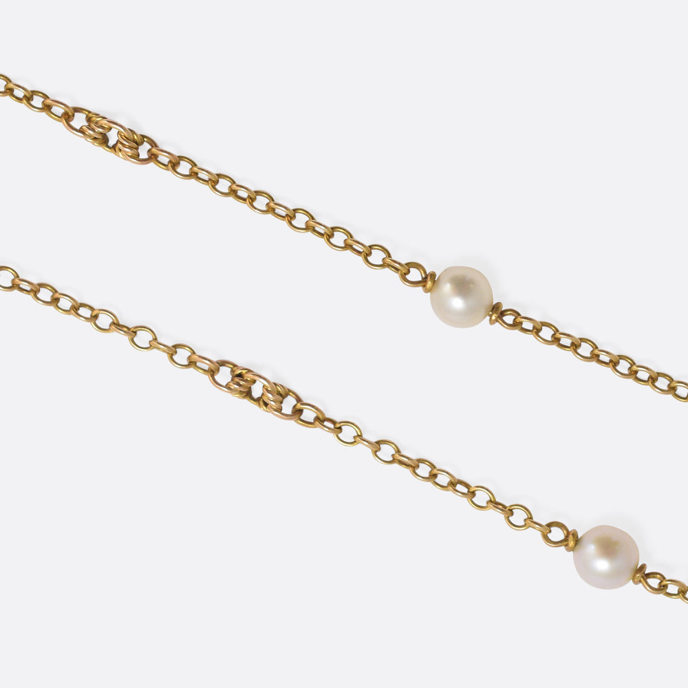 Victorian Pearl-Set 15k Gold Guard Chain
