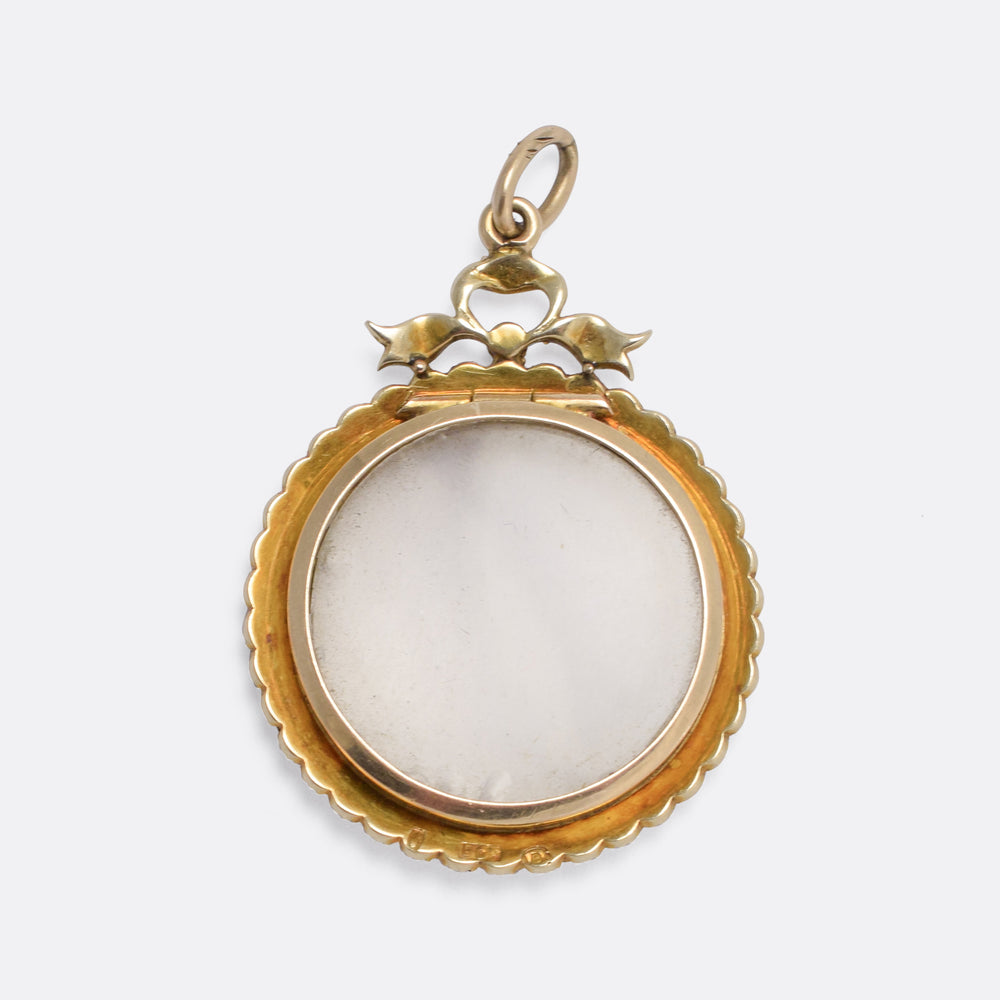 Victorian Pearl Bowed Round Locket
