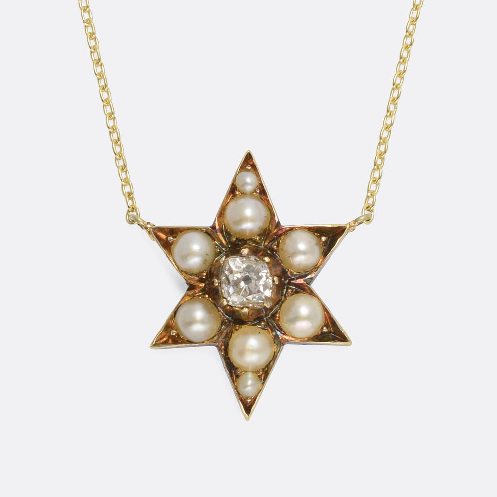 Victorian Pearl & Diamond Star Necklace