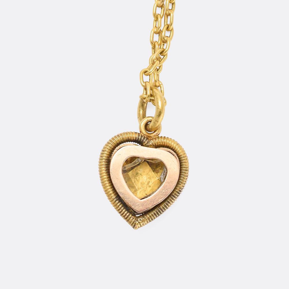 Victorian Pearl & Enamel Heart Locket