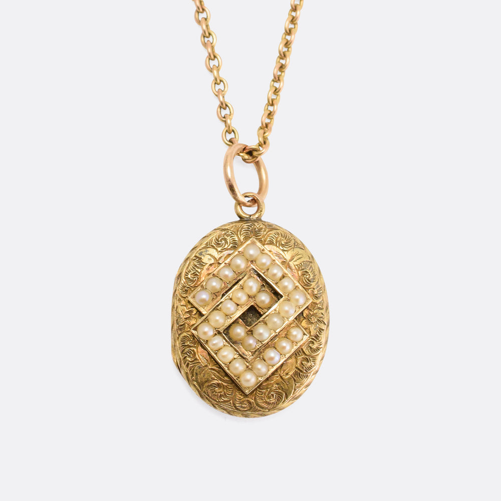 Victorian Pearl Interlinked Squares Locket