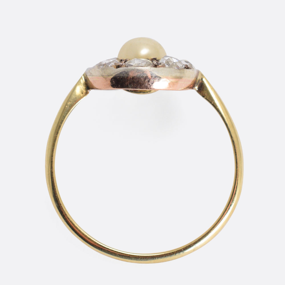 Victorian Pearl & Rose Cut Diamond Horseshoe Ring