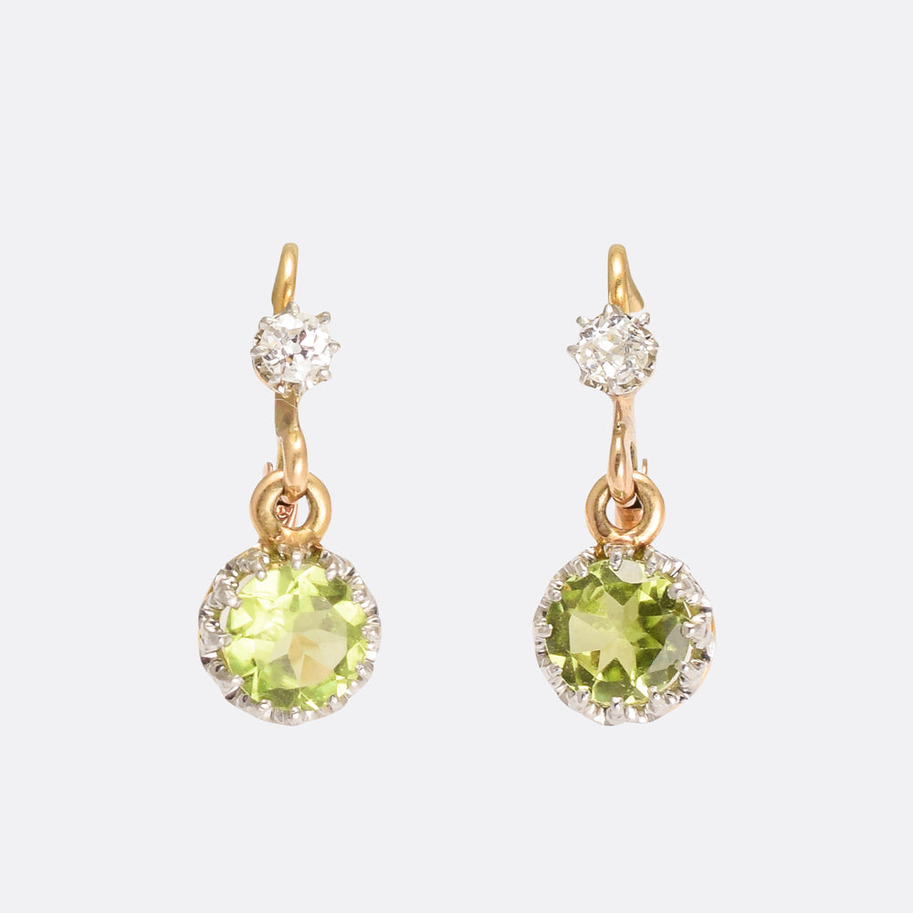 Victorian Peridot & Diamond Lever Back Earrings