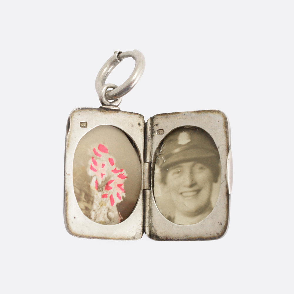 Victorian Rectangular Niello Silver Locket