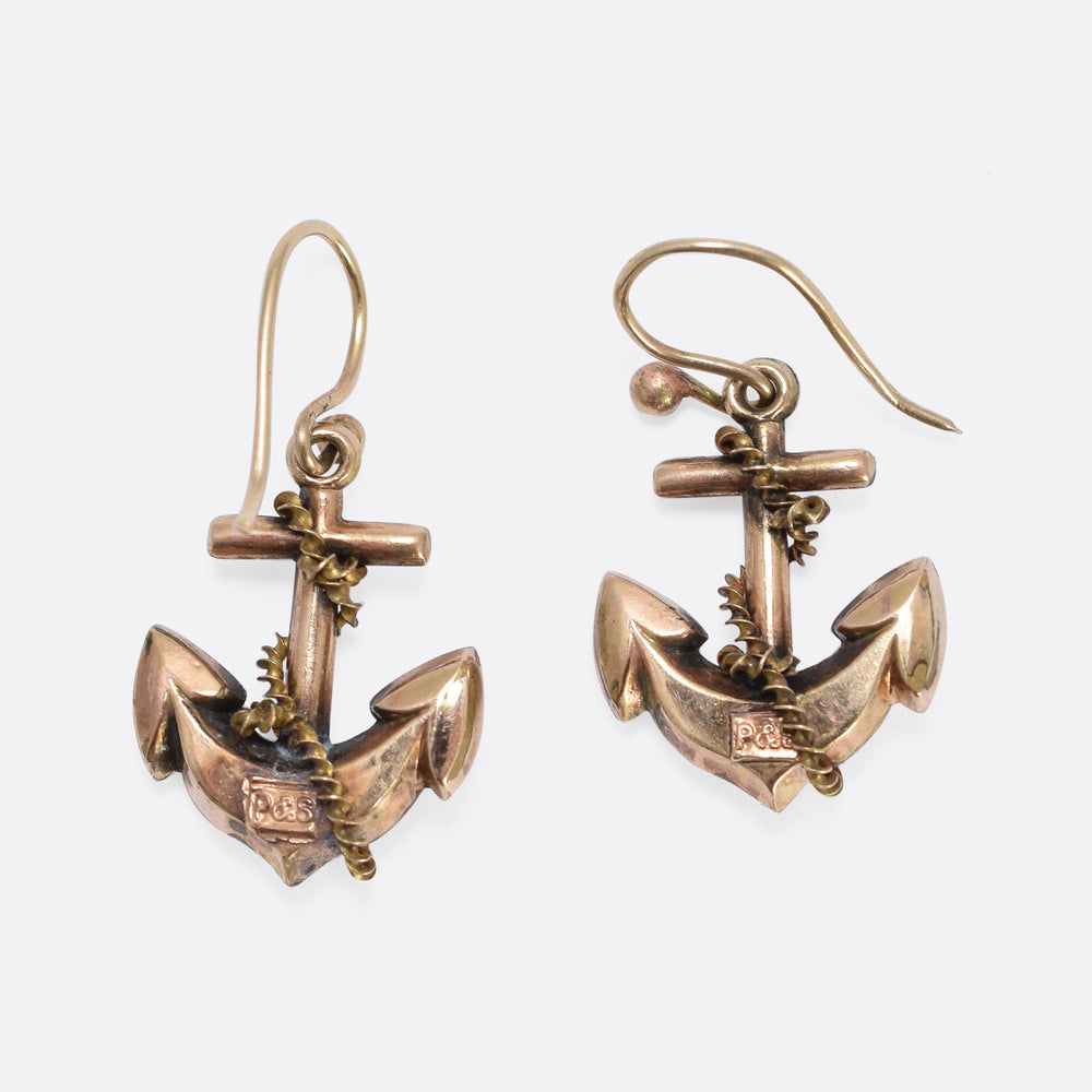 Victorian Rope & Anchor Earrings