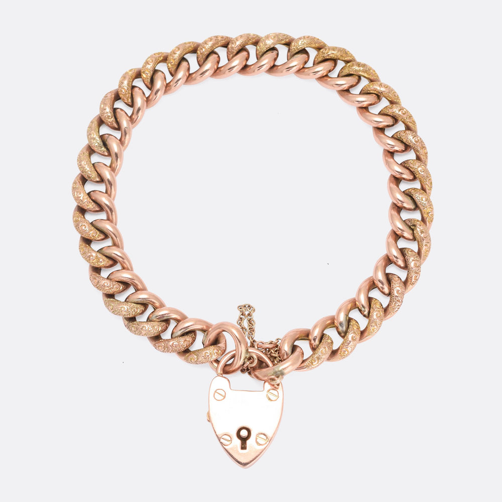 Victorian Rose Gold Curb-Link Bracelet with Heart Padlock