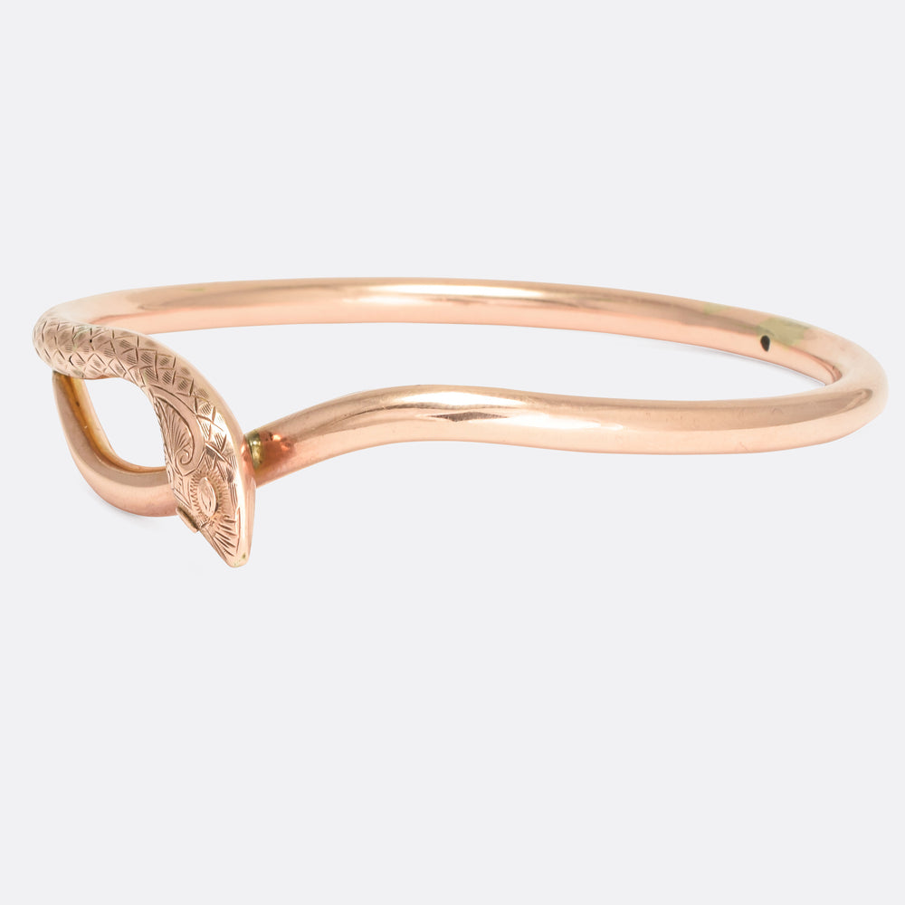 Victorian Rose Gold Serpent Slave Bangle