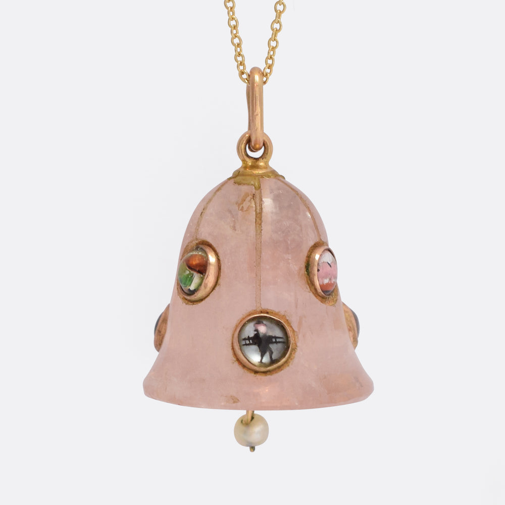 Victorian Rose Quartz Lucky Charms Bell Pendant