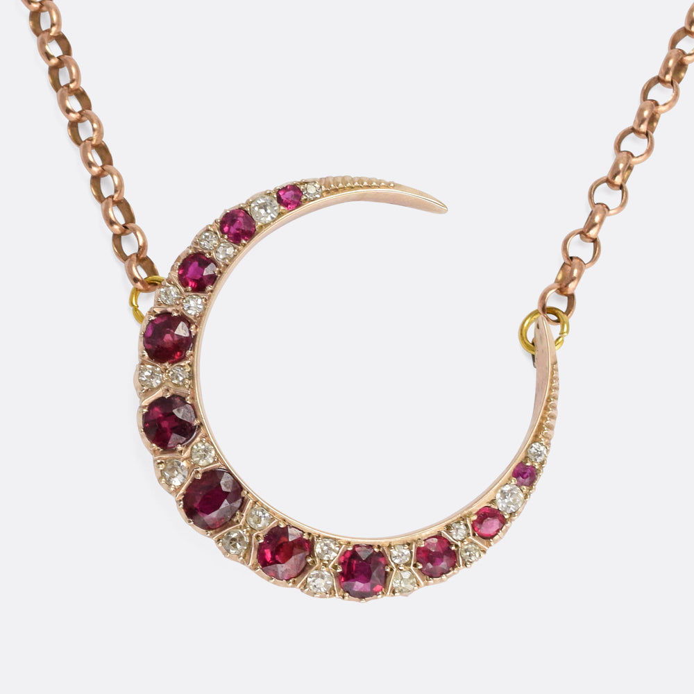 Victorian Ruby & Diamond Crescent Necklace