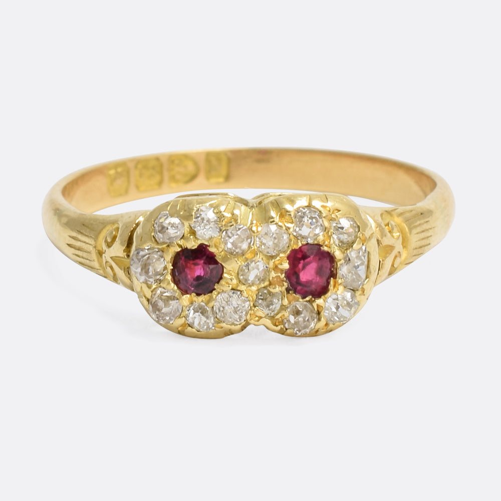 Victorian Ruby & Diamond Double Cluster Ring
