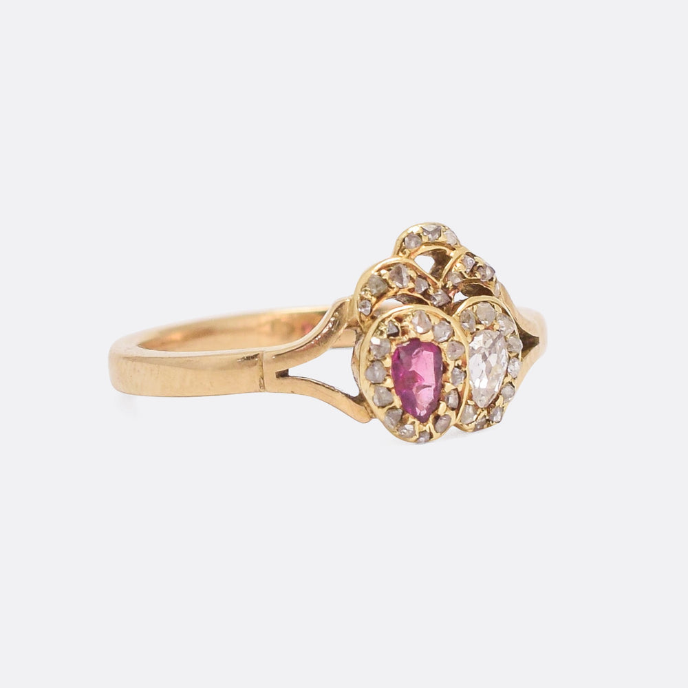 Victorian Ruby & Diamond Double Heart Ring