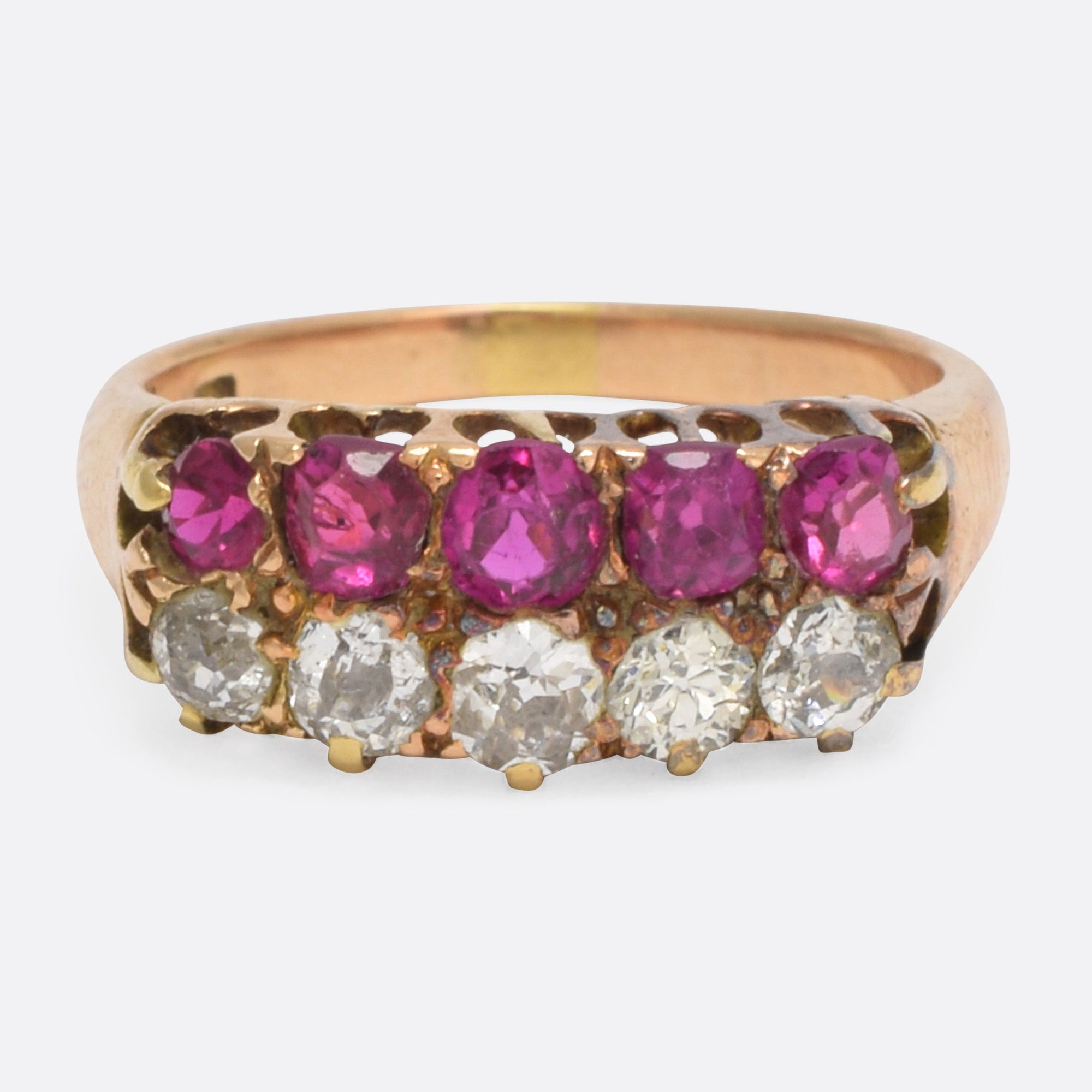 gold ruby bracelet diamond expertissim yellow line and