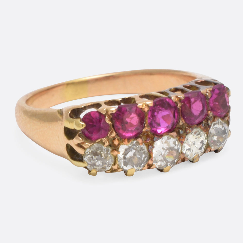 Victorian Ruby & Diamond Double Row Ring