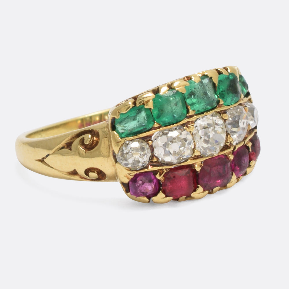 Victorian Ruby Diamond Emerald Tricolor Ring