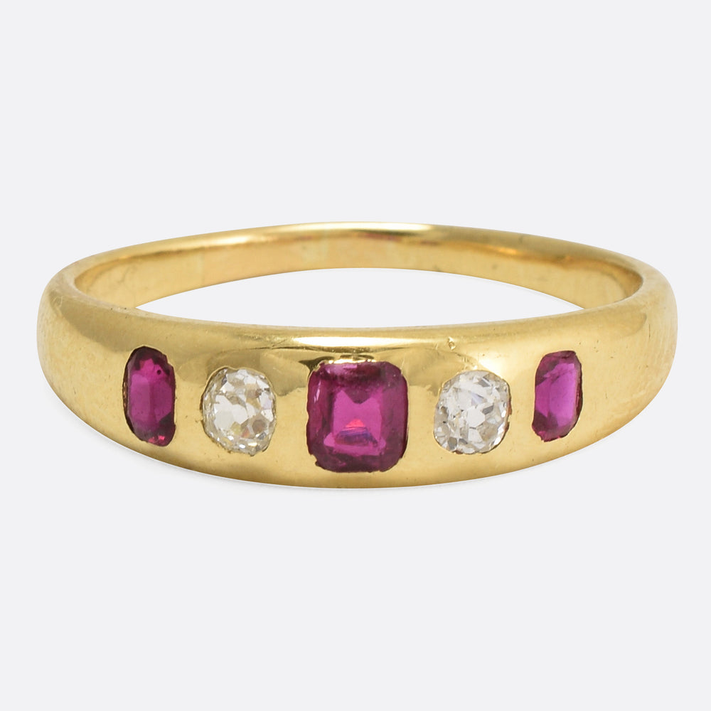 Victorian Ruby & Diamond Stacking Band