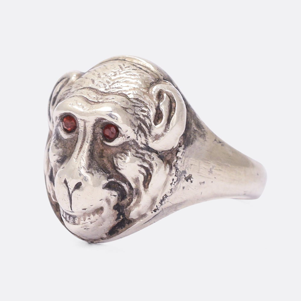 Victorian Ruby Eye Monkey Face Ring