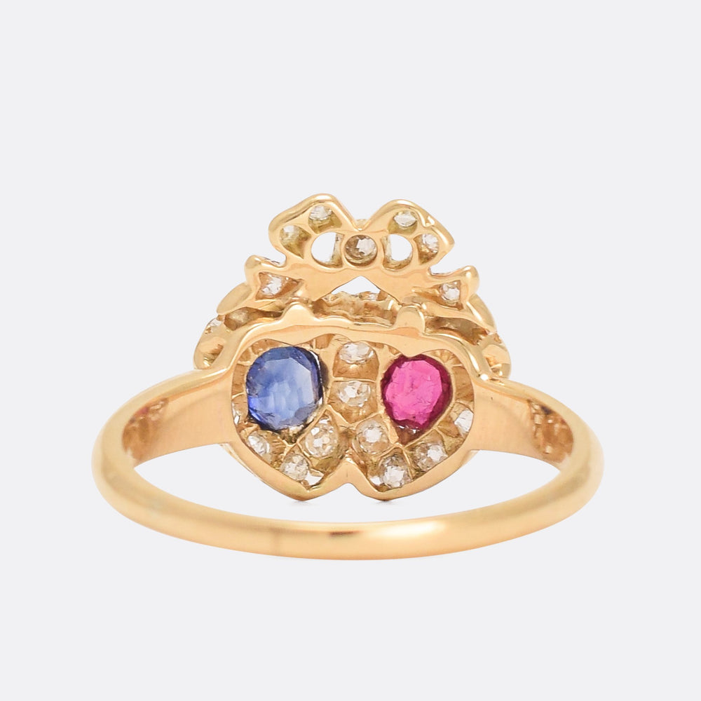 Victorian Ruby Sapphire & Diamond Bowed Double Heart Ring