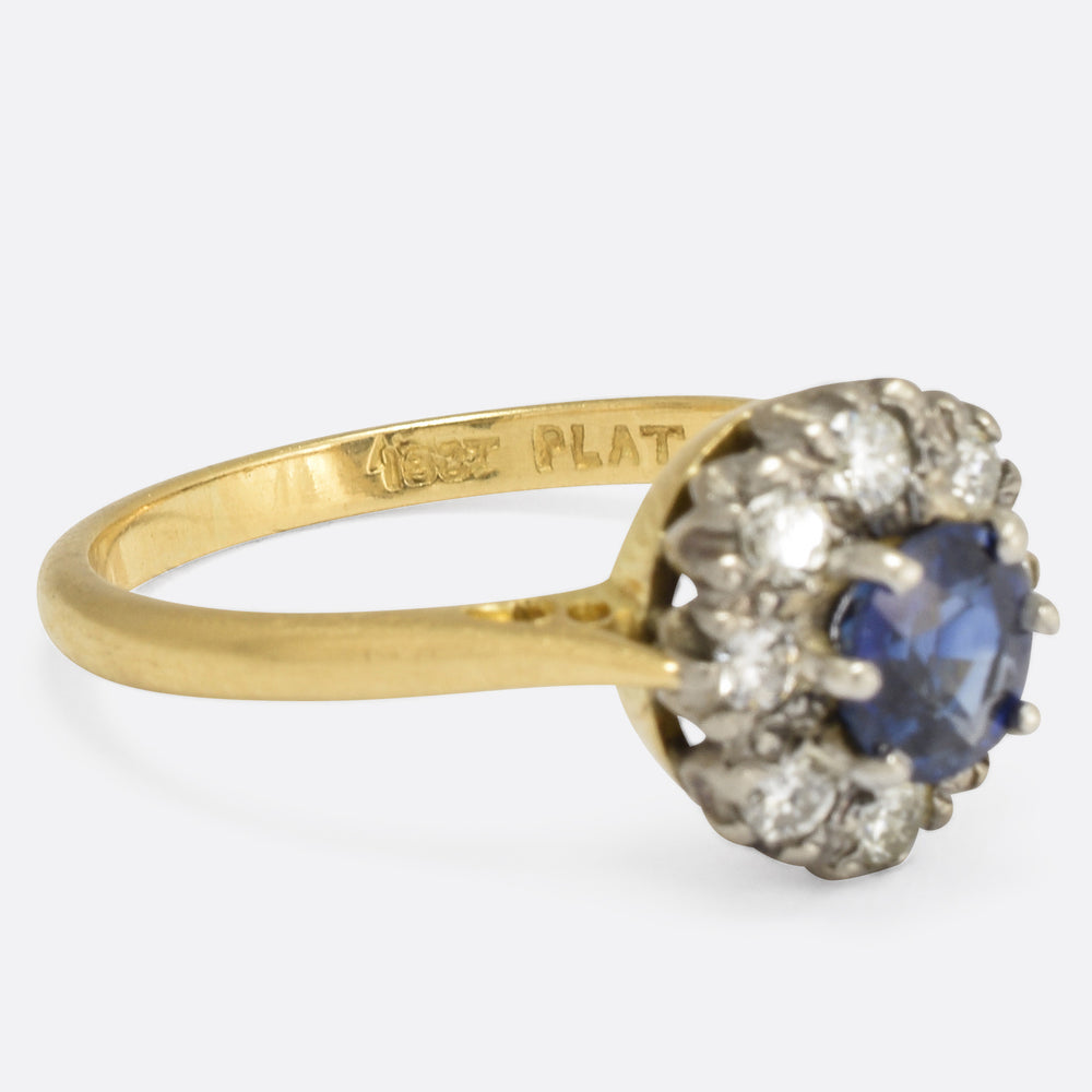 Victorian Sapphire & Diamond Oval Cluster Ring