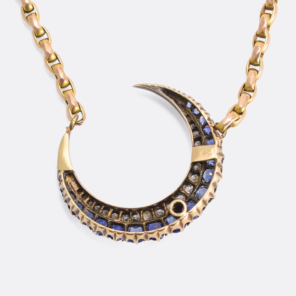 Victorian Sapphire & Diamond Crescent Moon Necklace