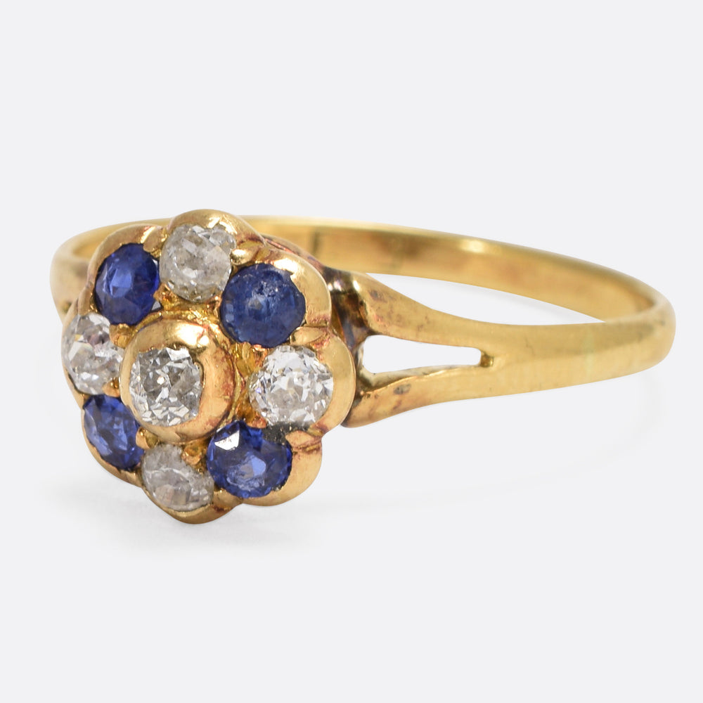 Victorian Sapphire & Diamond Flower Cluster Ring