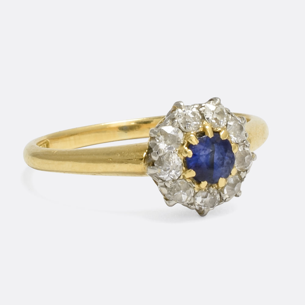 Victorian Sapphire & Diamond Round Cluster Ring