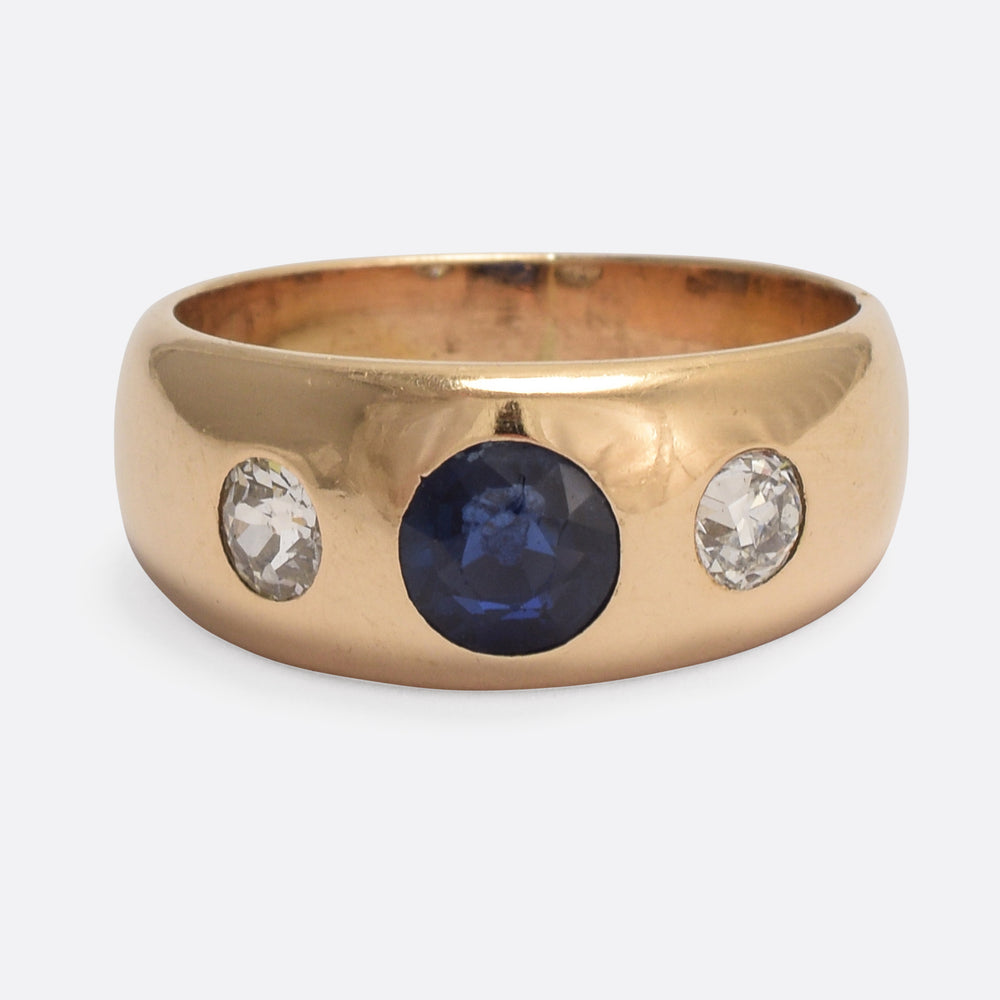 Victorian Sapphire & Diamond Three-Stone Gypsy Ring