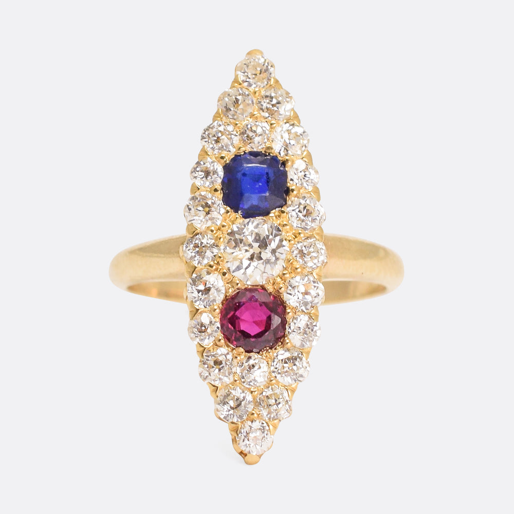 Victorian Sapphire, Ruby & Diamond Marquise Cluster Ring
