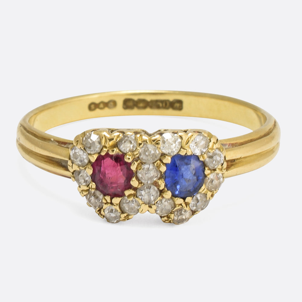 Victorian Sapphire & Ruby Double Heart Ring