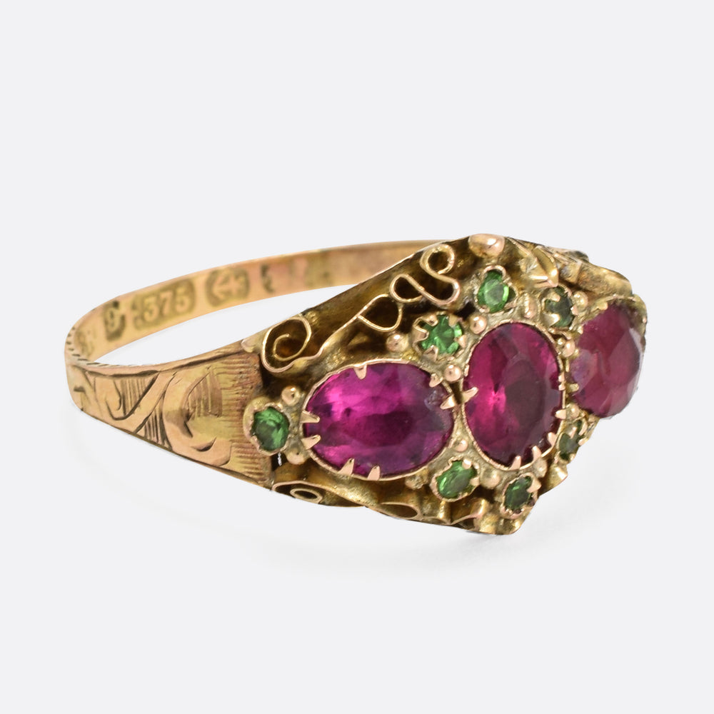 Victorian Scrolled Red Green Paste Stone Ring