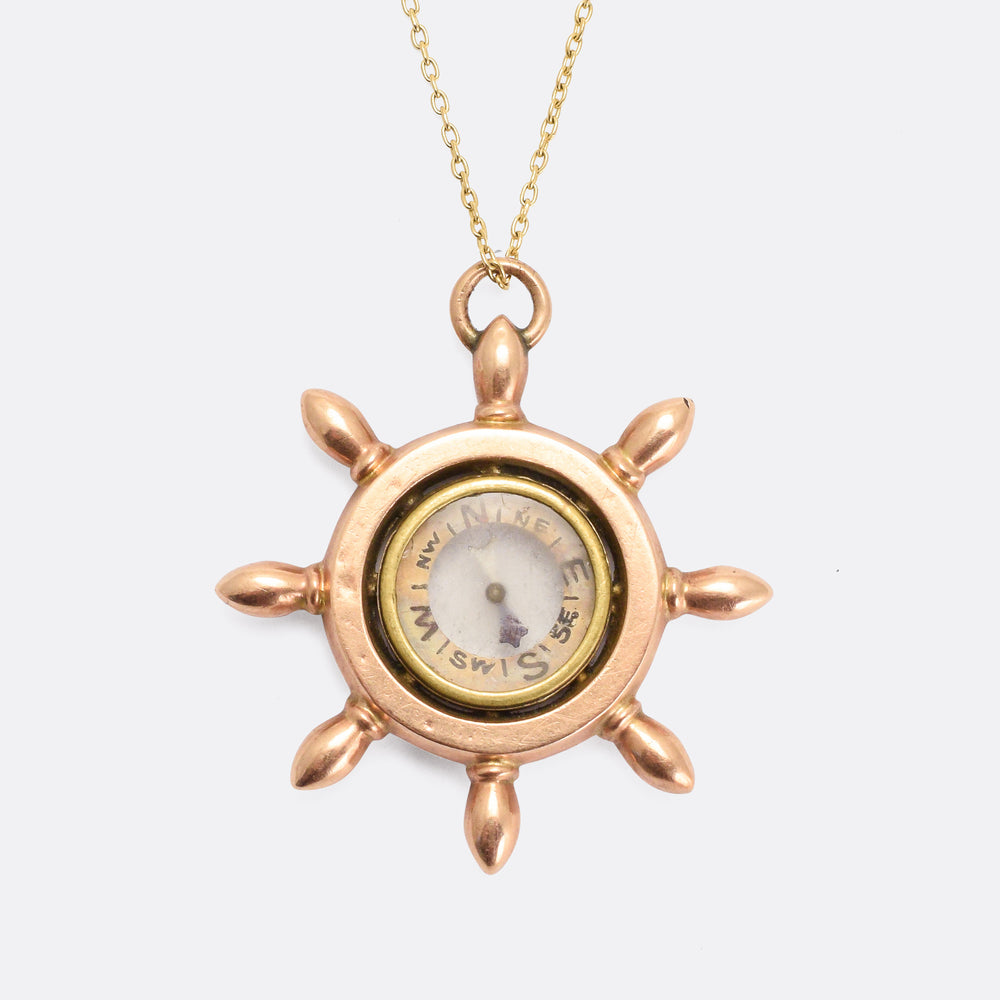 Victorian Ship's Wheel Compass Pendant