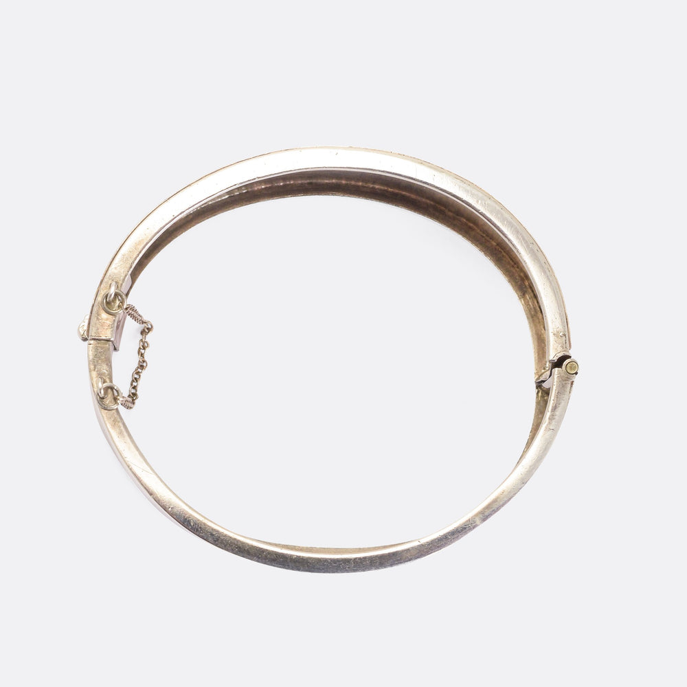 Victorian Silver Cuff Bangle with Rose Gold Inlay