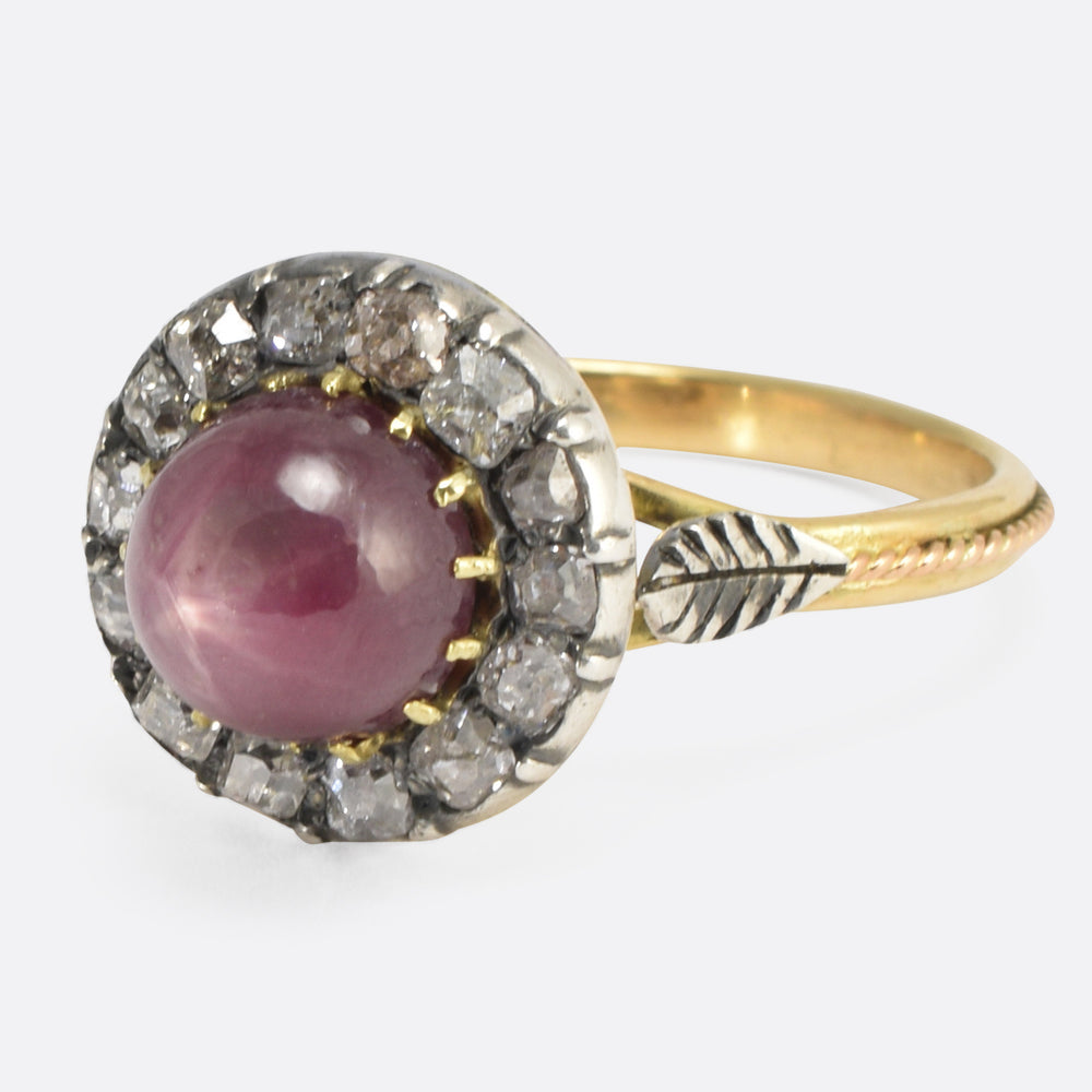 Victorian Star Ruby & Diamond Cluster Ring