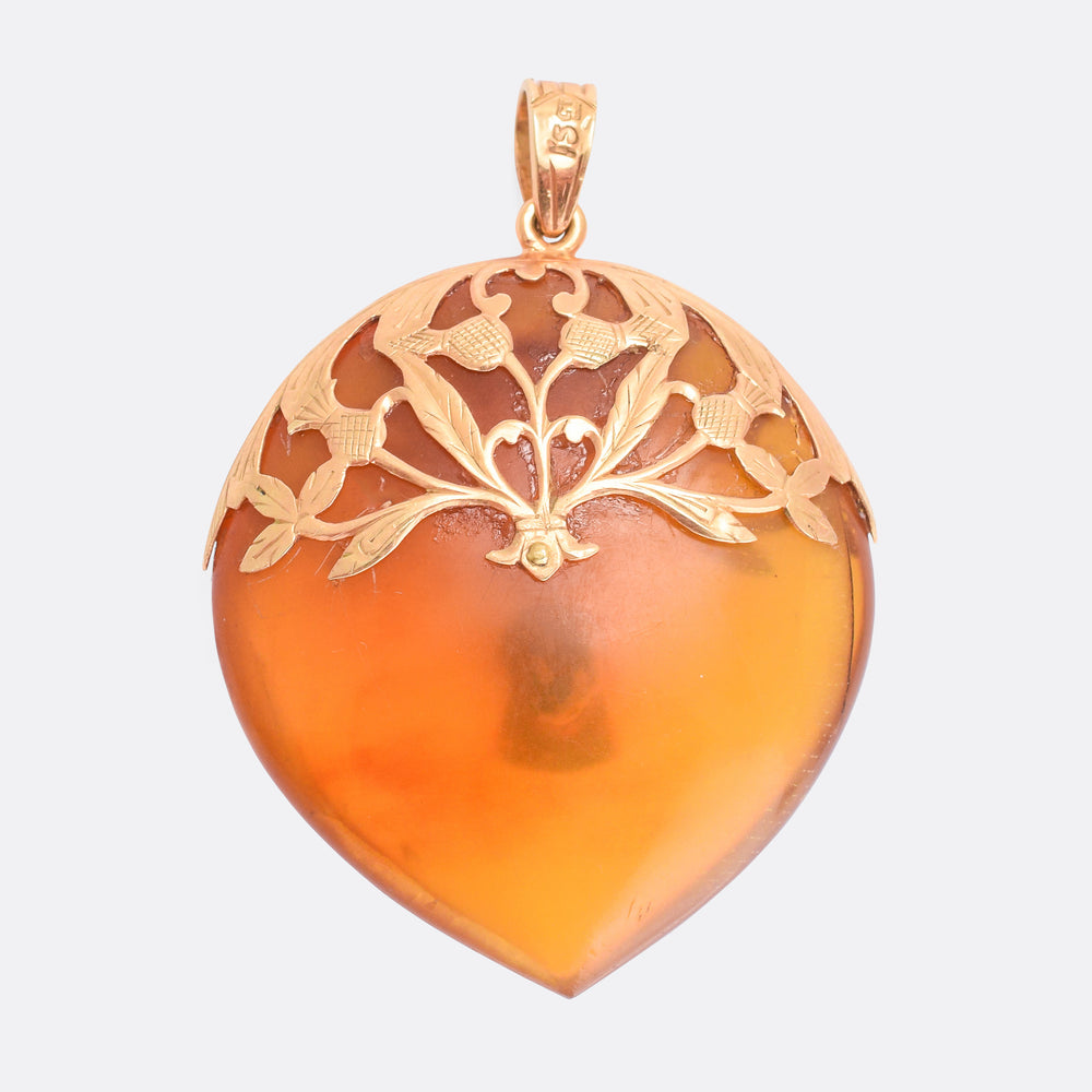 Victorian Tortoise Shell Key To My Heart Pendant