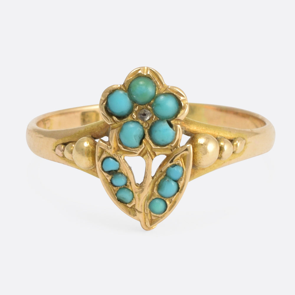 Victorian Turquoise & Diamond Pansy Ring