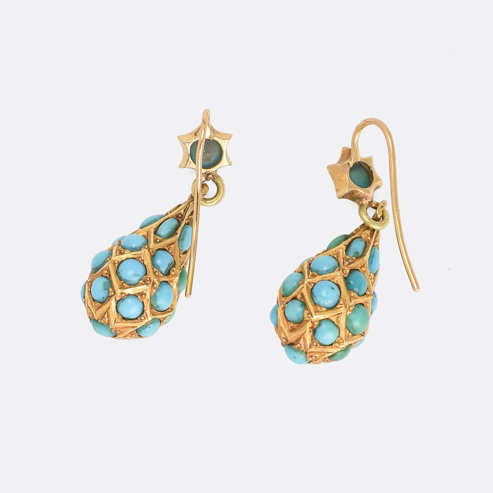 Victorian Turquoise Pear Drop Earrings