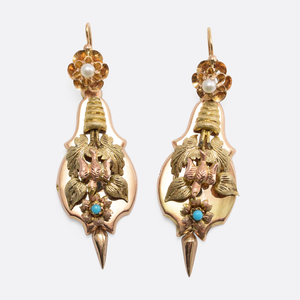 "Victorian Turquoise & Pearl ""Day and Night"" Earrings"