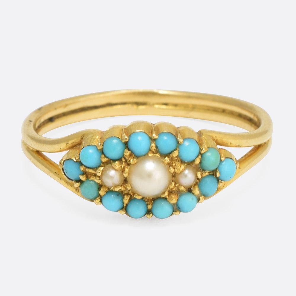Victorian Turquoise & Pearl Eye Ring