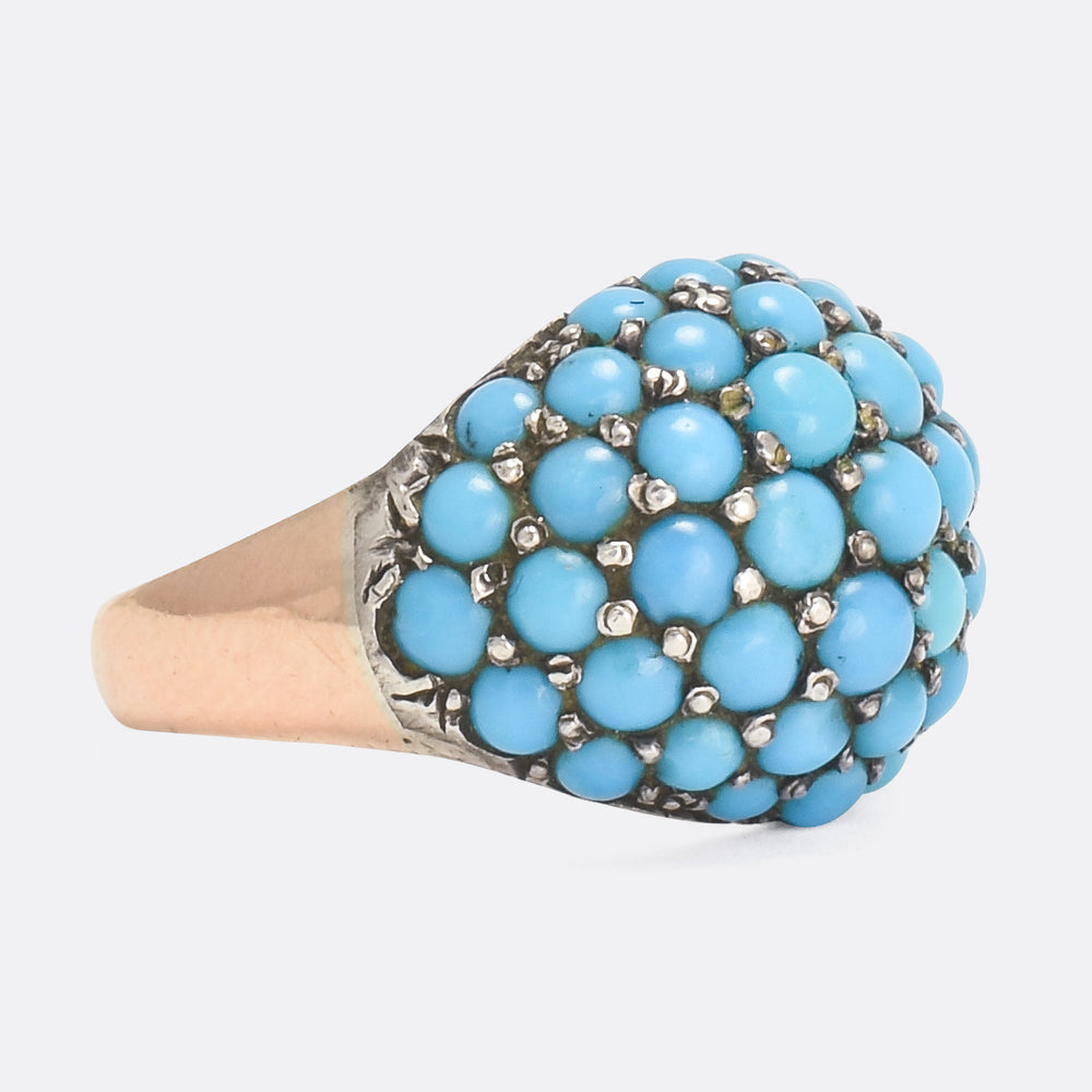 Victorian Turquoise Rose Gold Bombé Ring