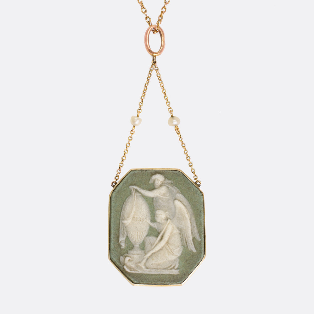 Victorian Wedgwood Cameo Mourning Necklace