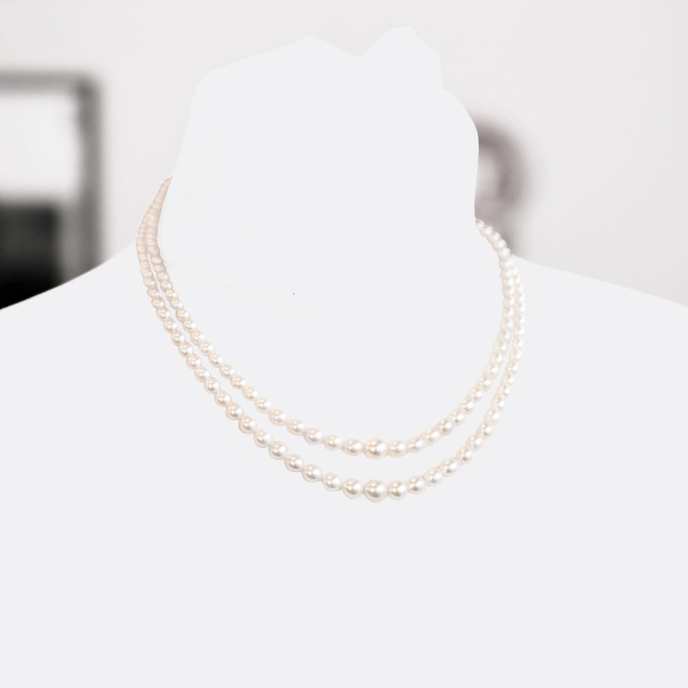Vintage Double String Pearl Necklace