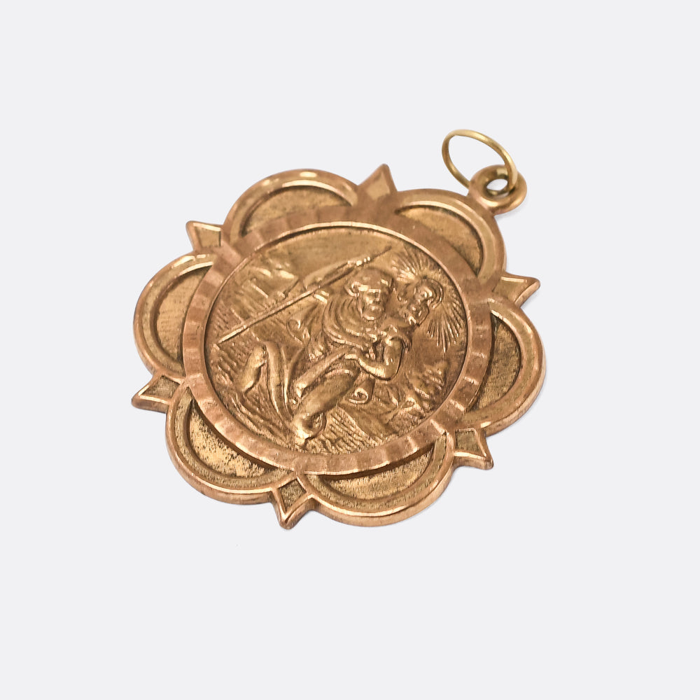 Vintage Gold Saint Christopher Pendant