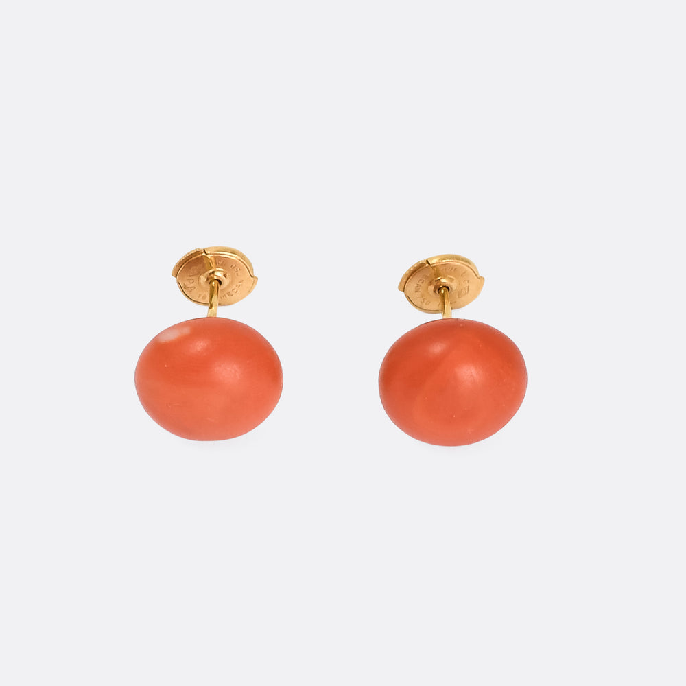 Vintage Orange Coral Stud Earrings