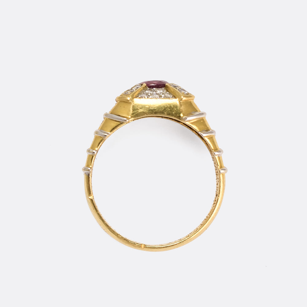 Vintage Ruby & Diamond Cross Cluster Ring