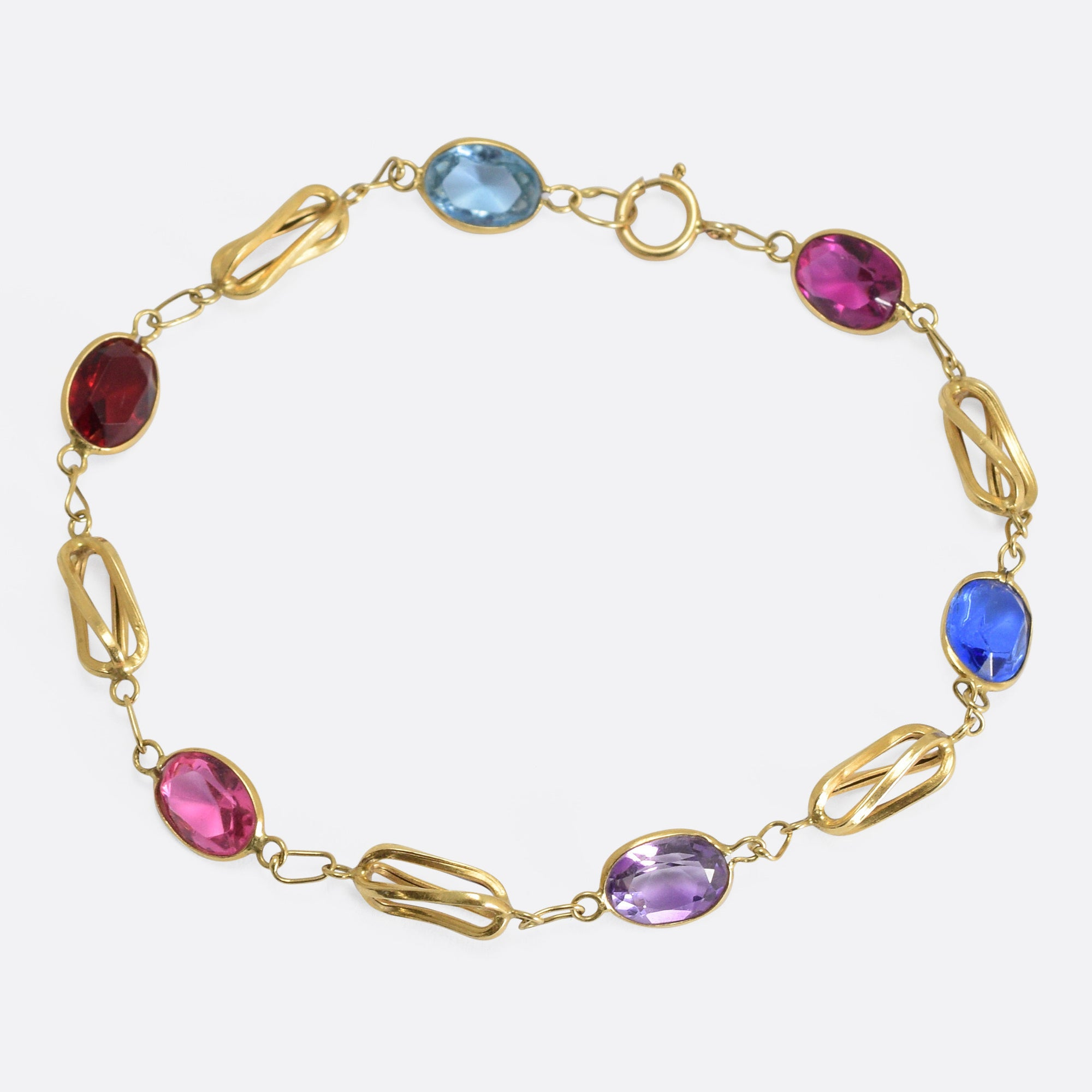 sterling sold work extra fine lane wide gemstone vintage open item multi ruby silver bracelet