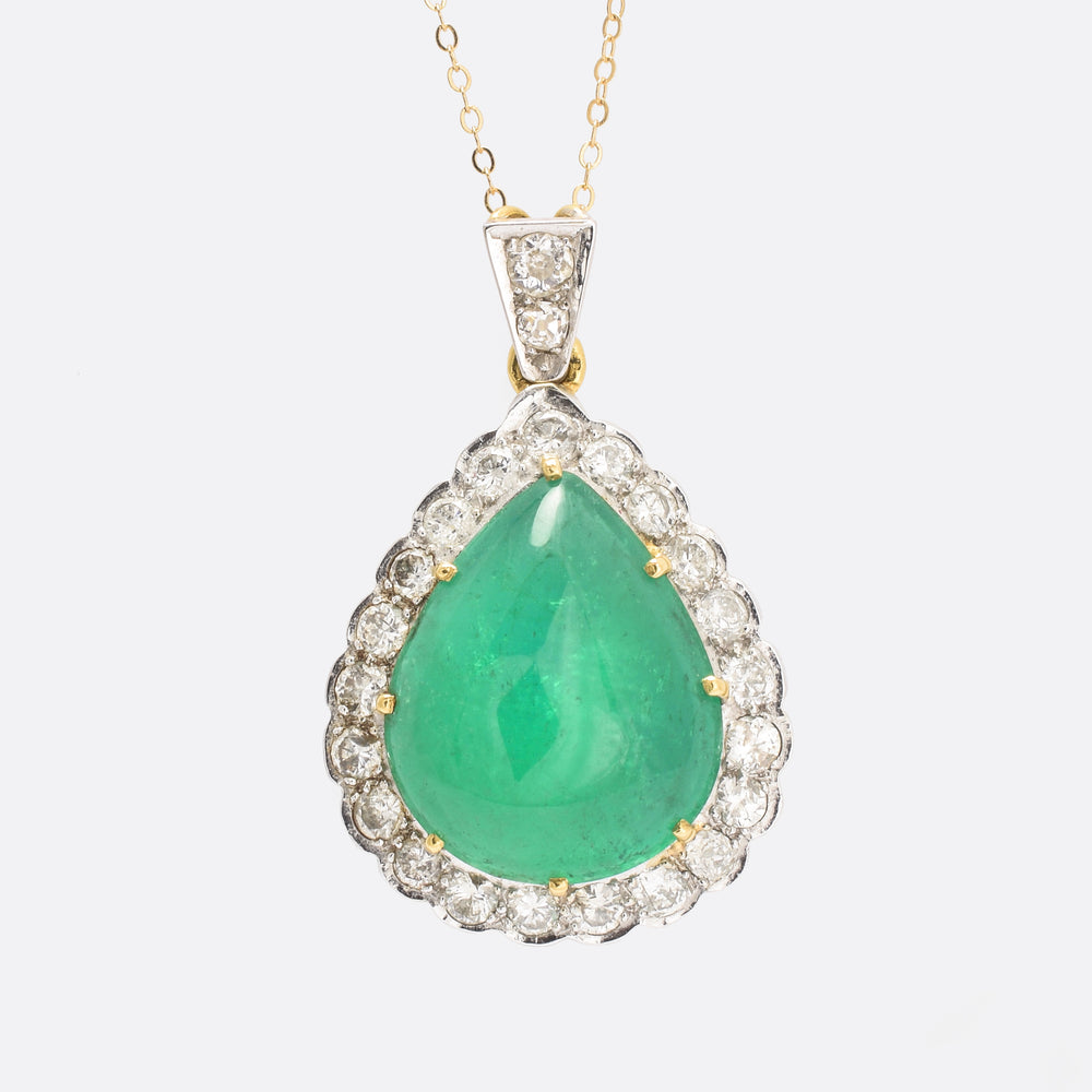 Vintage 22.5ct Emerald & Diamond Teardrop Pendant