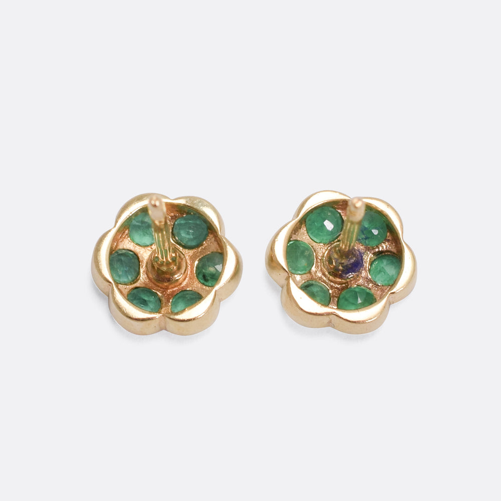Vintage Emerald Flower Stud Earrings