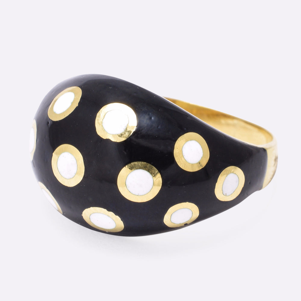 Vintage Enamelled Polka-Dot Bombé Ring