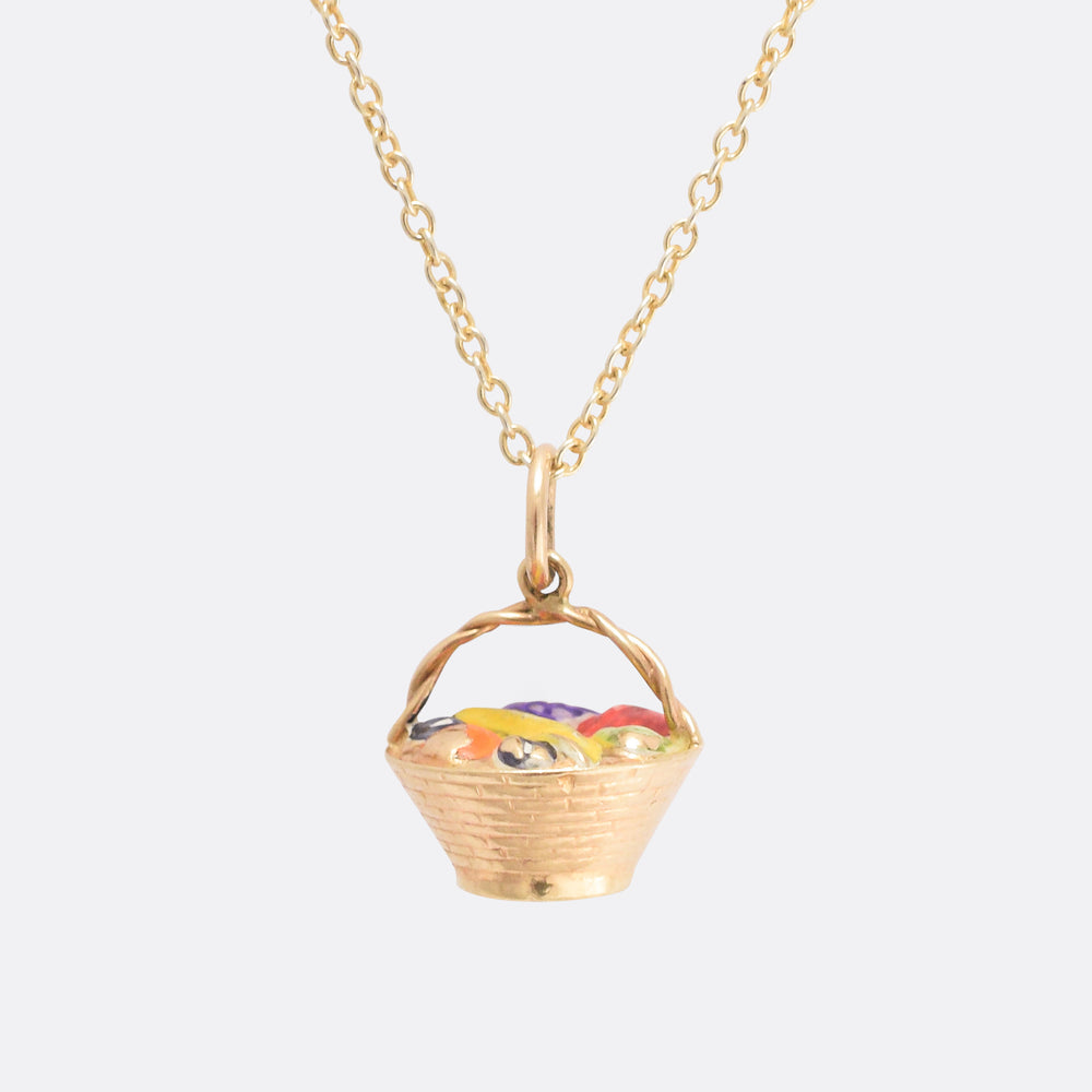Vintage Gold Fruit Basket Charm