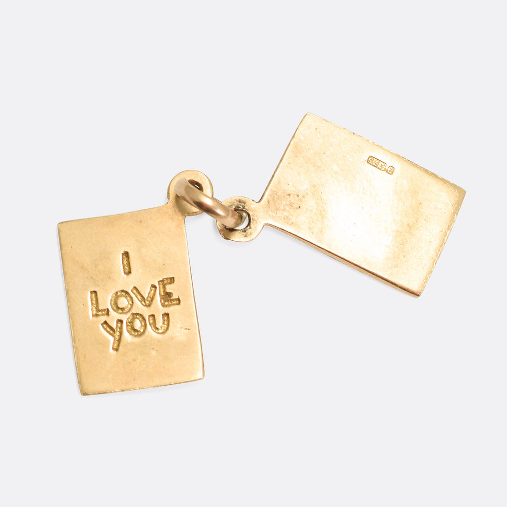 Vintage Gold I LOVE YOU Envelope Charm